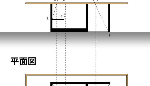 【手描きパース】平面パースの奥行きを断面図から算出する方法